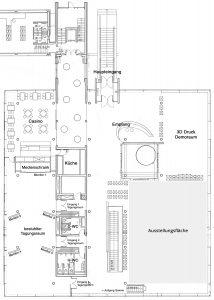 Gebäudeplan und Ausstellungsfläche additiva